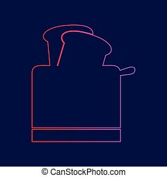 Toaster simple sign. Vector. Line icon with gradient from red to violet colors on dark blue background.