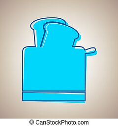 Toaster simple sign. Vector. Sky blue icon with defected blue contour on beige background.