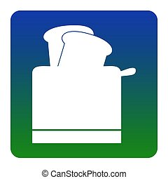 Toaster simple sign. Vector. White icon at green-blue gradient square with rounded corners on white background. Isolated.