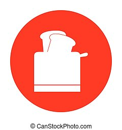 Toaster simple sign. White icon on red circle.
