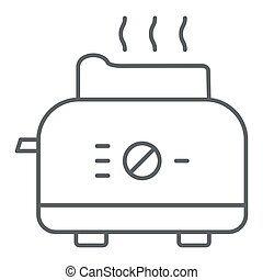 Toaster thin line icon, Kitchen equipment concept, electric toaster with toast sign on white background, Toaster with bread icon in outline style for mobile concept, web design. Vector graphics.
