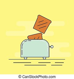 Toaster Throwing out Bread in the Morning Flat Thin Line Art