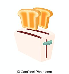 Toaster with bread icon, cartoon style