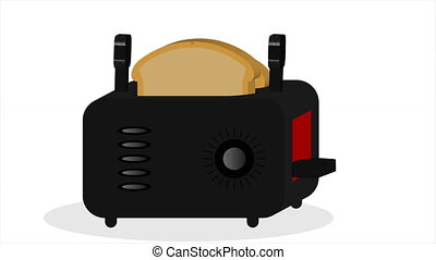 toaster with bread in flat design