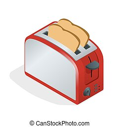 Toaster with bread. Modern design of the bread toaster in the kitchen interior. Food for breakfast. Healthy lifestyle. Flat 3d vector isometric illustration.