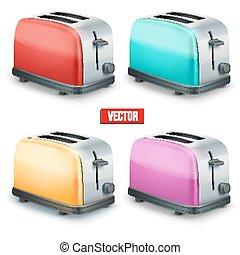 toasters., jogo, isolado, experiência., luminoso, vetorial, branca