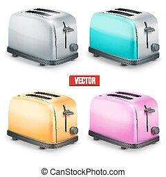 toasters., jogo, isolado, experiência., luminoso, vetorial, retro, branca