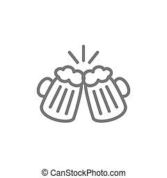 Toasting beer glasses, cheers line icon.