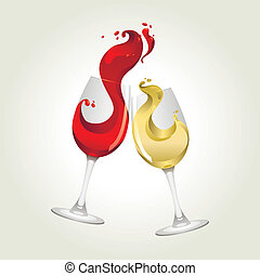 red and white wine with big splash - Toasting gesture red ...