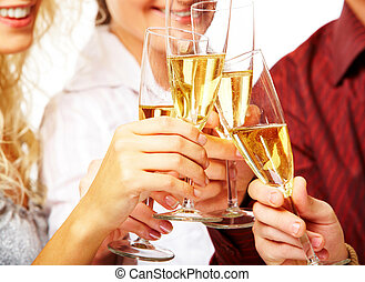Toasting - Photo of champagne glasses during toast at party
