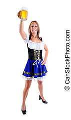 Toasting With Beer - Beautiful Woman Wearing A Traditional...