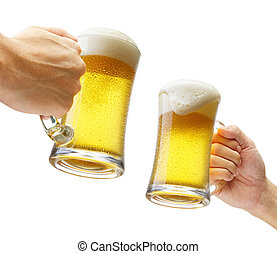 toasting with beers - two hands holding beers making a toast