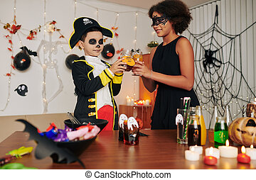 Toasting with Halloween drinks