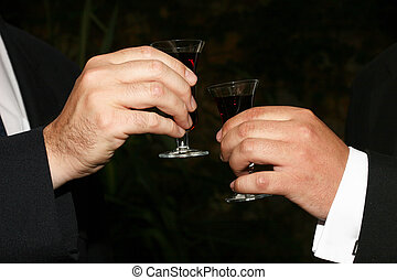 Two men toasting with sherry