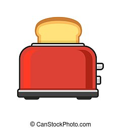 Toasts Flying Out of Red Toaster. Vector