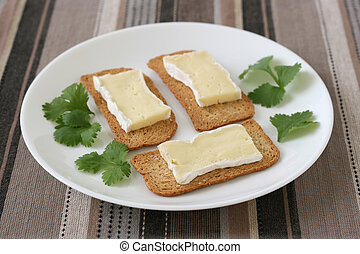 Toasts with cheese camembert