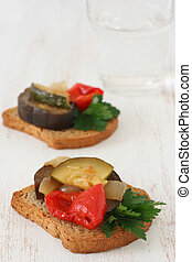 toasts with vegetables