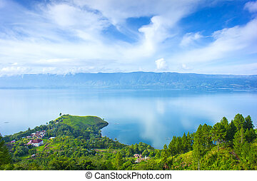 toba lake village from higland view