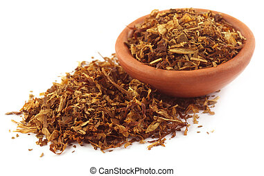 Tobacco for making cigarette on a small bowl over white ...