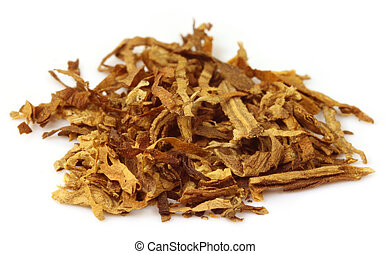 Tobacco for making cigarette over white background