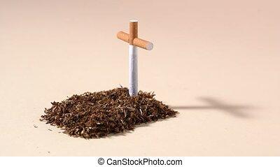 Tobacco grave with cigarette cross - Conceptual grave made...
