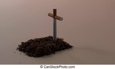 Tobacco grave with cigarette cross - Creative grave made...