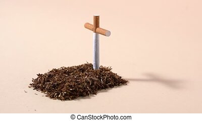Tobacco grave with cigarette cross - Reminder of the dangers...