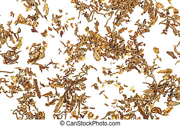 Tobacco isolated on white background, top view.