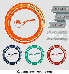 tobacco pipe icon on the red, blue, green, orange buttons for your website and design with space text. Vector