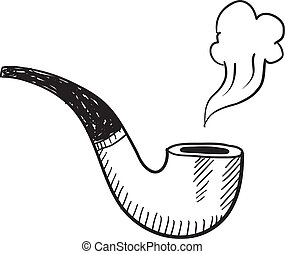 Tobacco pipe sketch - Doodle style tobacco pipe with smoke...