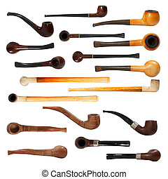 Tobacco pipes isolated on white background