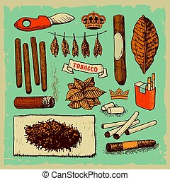 Tobacco products - Vector illustrated set of various tobacco...