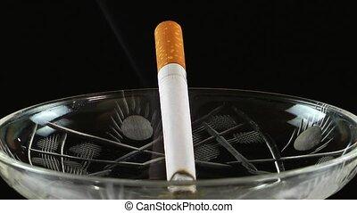 Tobacco Smoke Cigarette in Ashtray
