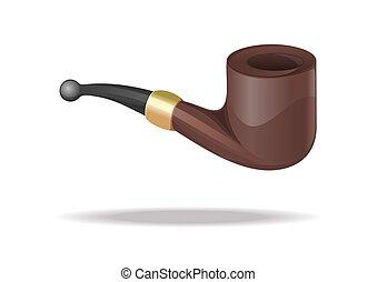 Tobacco smoking pipe icon isolated on white