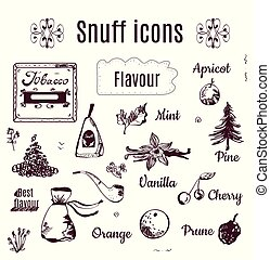 Tobacco snuff icons illustration