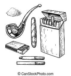 Tobbaco smoking vector drawing set. Cigarette pack, cigar, matches box, pipe sketch
