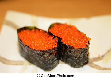 Tobiko Gunkan Sushi (Nori wrapped Flying Fish Roe Sushi) on ...