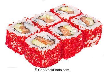 Tobiko Spicy Maki Sushi - Hot Roll with various type of ...