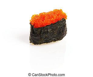 Tobiko sushi isolated on white background