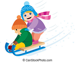 2 kids having fun with a sled. No transparency and gradients used.