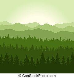 toboztermő fa, hegyek, háttér., vektor, zöld, köd, erdő