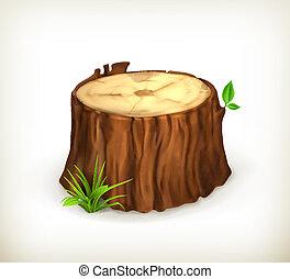 tocón, vector, árbol