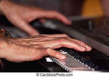 tocando, a, teclado