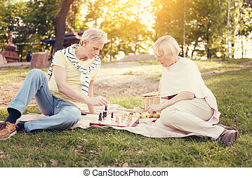 tocando, agradável, xadrez, esperto, pessoas