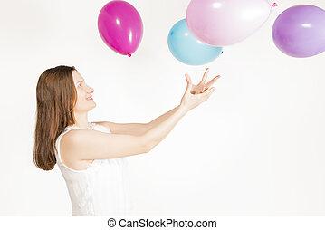 tocando, com, balões