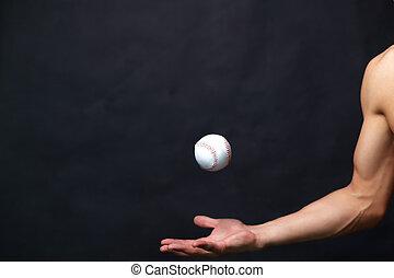 tocando, com, esfera baseball