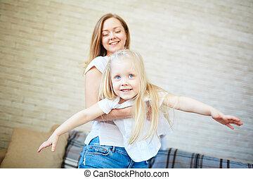tocando, com, filha