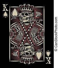 tocando, cranio, cartão