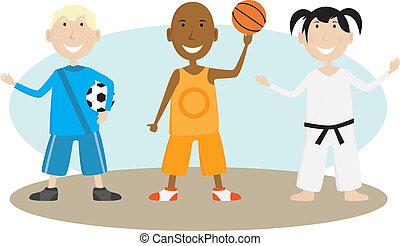 tocando, crianças, esportes