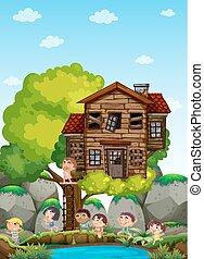 tocando, crianças, treehouse